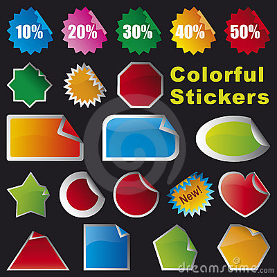 Free Colorful Stickers Royalty Free Stock Images - 5372229