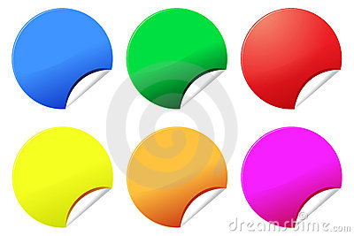 Colorful stickers or labels