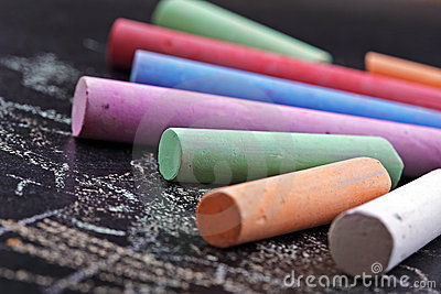 Colorful sticks of chalk