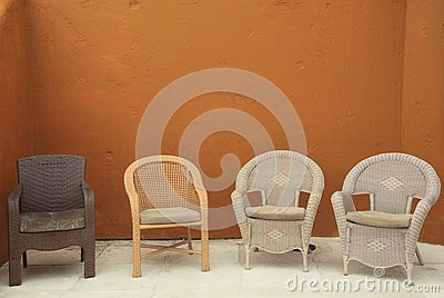 Colorful Straw wicker chairs on patio