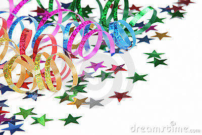 Colorful streamers and confetti