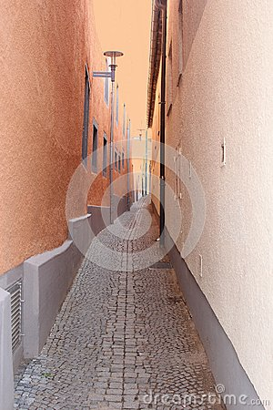 Ancient colorful alleyway with cobblestones, Thuringia, Germany
