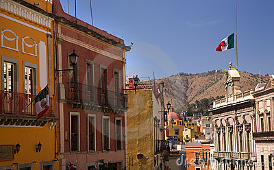 Colorful Street with Flags Guanajuato Mexico