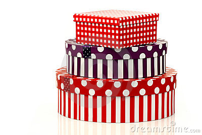 Colorful striped and checkered gift boxes