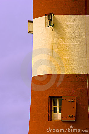 Colorful striped lighthouse