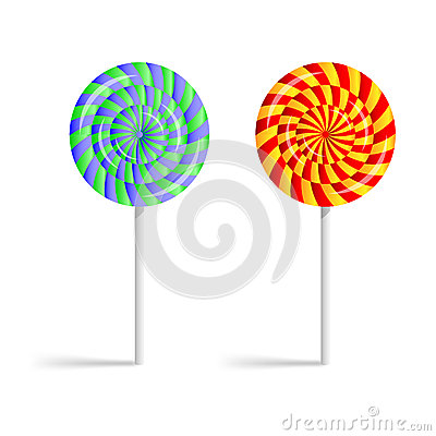 Colorful striped lollipops  on a white background