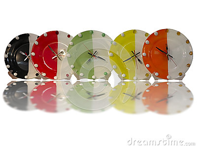 Colorful stylish food concept wall clocks isolated over white