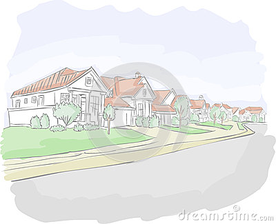 Colorful suburb neighborhood