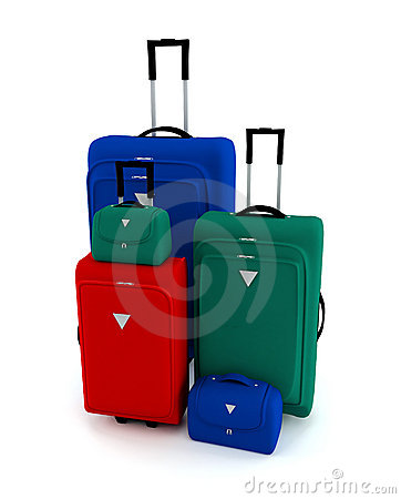 Colorful suitcases and bags
