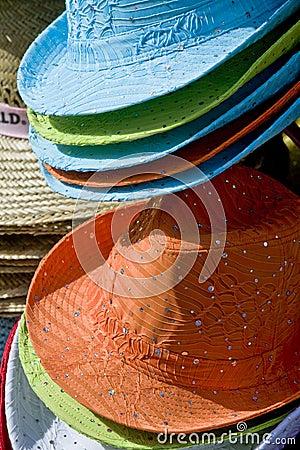 Colorful summer sun hats
