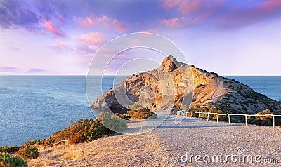 Colorful summer sunrise on the sea