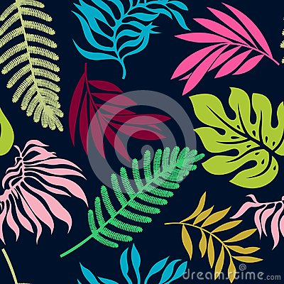 Free Colorful Summer Tropical Leaves Seamless Pattern Royalty Free Stock Photo - 115281045
