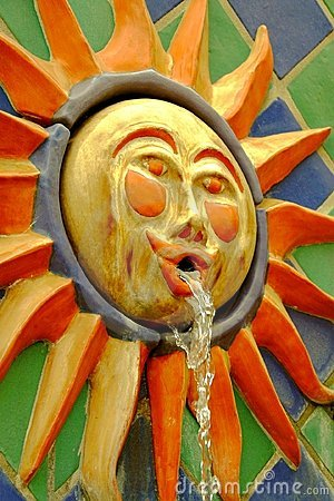 Colorful sun face fountain