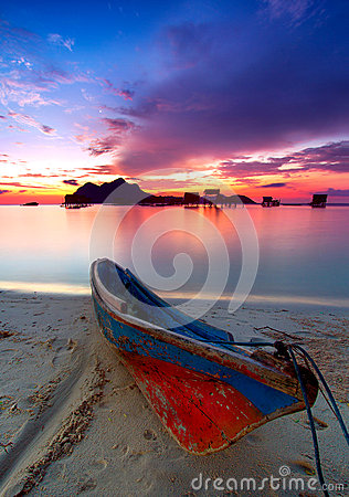 Colorful sunrise at Maiga Island