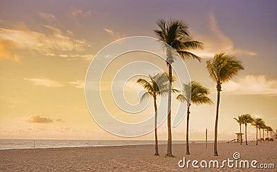 Colorful sunrise in Miami Beach Florida