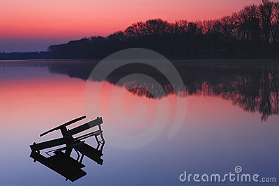 Colorful sunrise over the lake