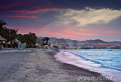 Colorful sunset in Eilat, Israel