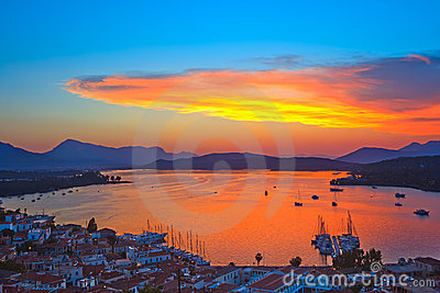 Colorful sunset in Greece