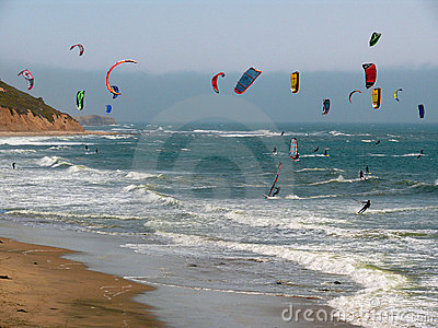 Colorful surf kites