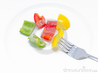 Colorful Sweet Pepper With Fork.