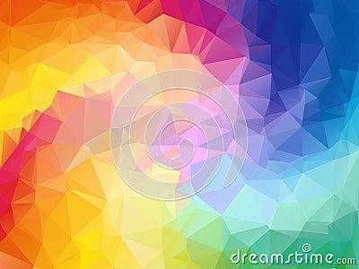 Colorful swirl rainbow polygon background. Colorful abstract vector. Abstract rainbow color Triangle Geometrical Vector Illustration