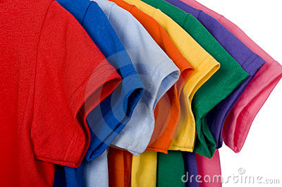 Colorful T-Shirts on White