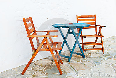 Colorful table and chairs arrangement