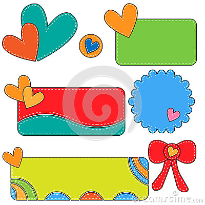 Colorful tags, labels and bow with hearts