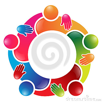 Colorful team work people circle