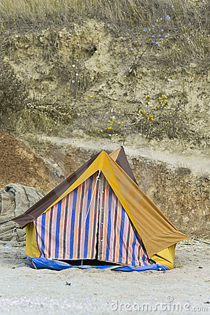 Colorful tent on beach