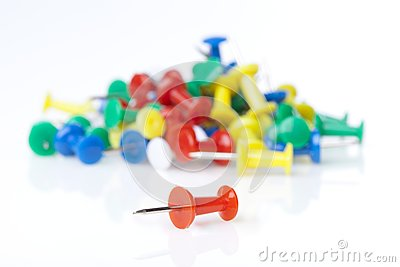 A colorful thumb tack