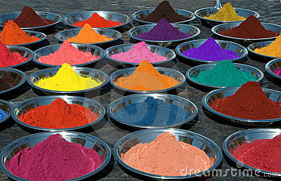 Colorful tika powders on indian market