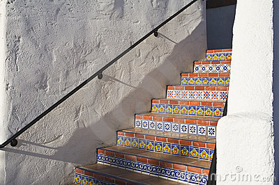 Colorful tiled stairway