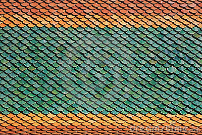 Colorful Tiles of Thai Temple Roof