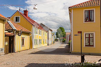 Colorful timber buildings. Vadstena. Sweden Editorial Image