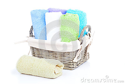 Colorful towels in basket