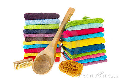 Colorful towels and sauna equipment