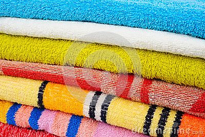 Colorful towels  on white