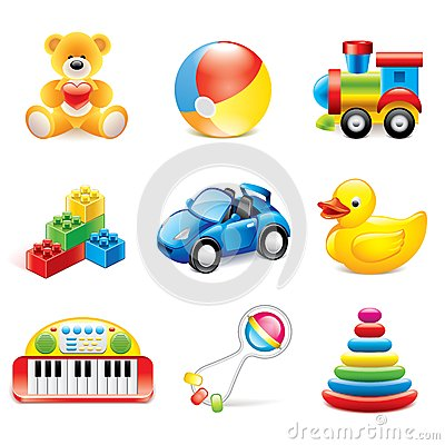 Free Colorful Toys Icons Vector Set Royalty Free Stock Photography - 40576347