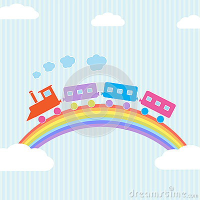 Colorful train on rainbow