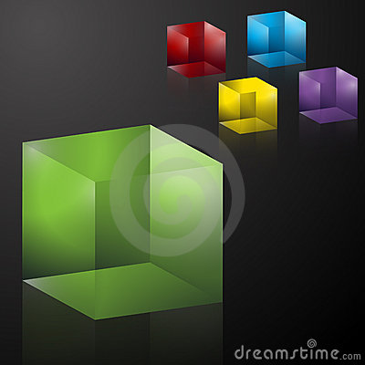 Free Colorful Transparent 3D Cubes Royalty Free Stock Images - 16384509
