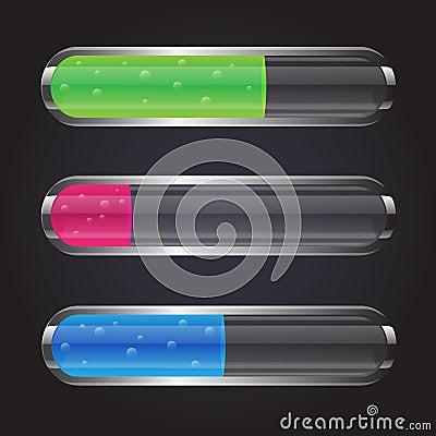 Colorful transparent glass flasks