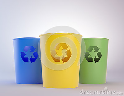 Colorful trash bins with recycling symbols