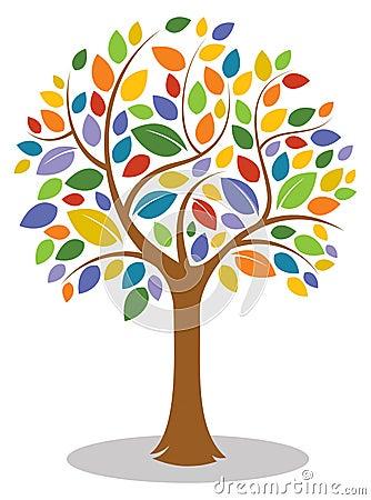 Colorful Tree Logo Vector Illustration