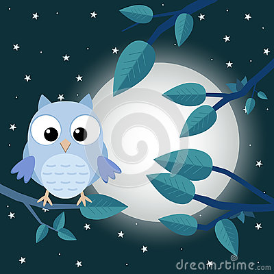 Free Colorful Tree With Cute Owl. Cartoon Bird In Moon Forest. Flat V Royalty Free Stock Image - 96385816