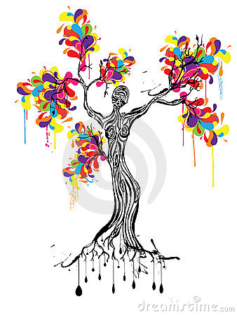 Colorful Tree With Women Silhouette Stock Photography ...
