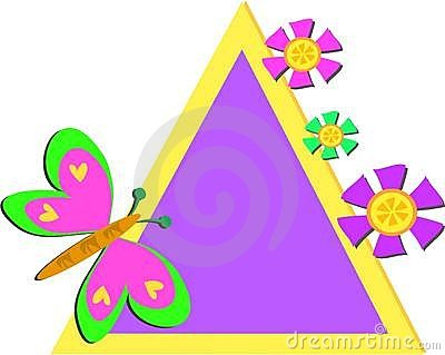 Colorful Triangle Frame with Butterfly and Flowers