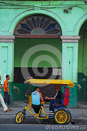 Free Colorful Trishaw Of Cuba In Front Of Old Building In Havana Stock Photo - 42405710
