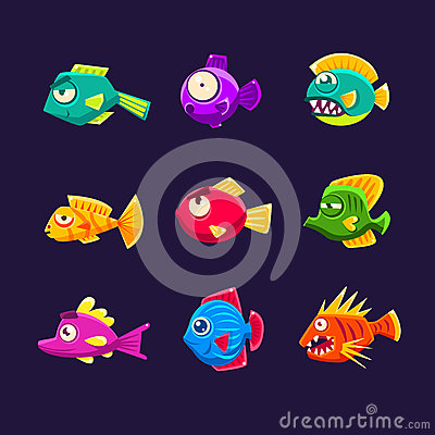 Free Colorful Tropical Fish Set Royalty Free Stock Photos - 75798898