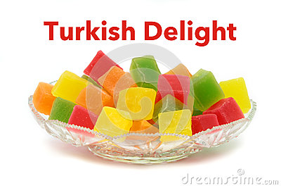 Colorful Turkish delight in crystal plate and sample text